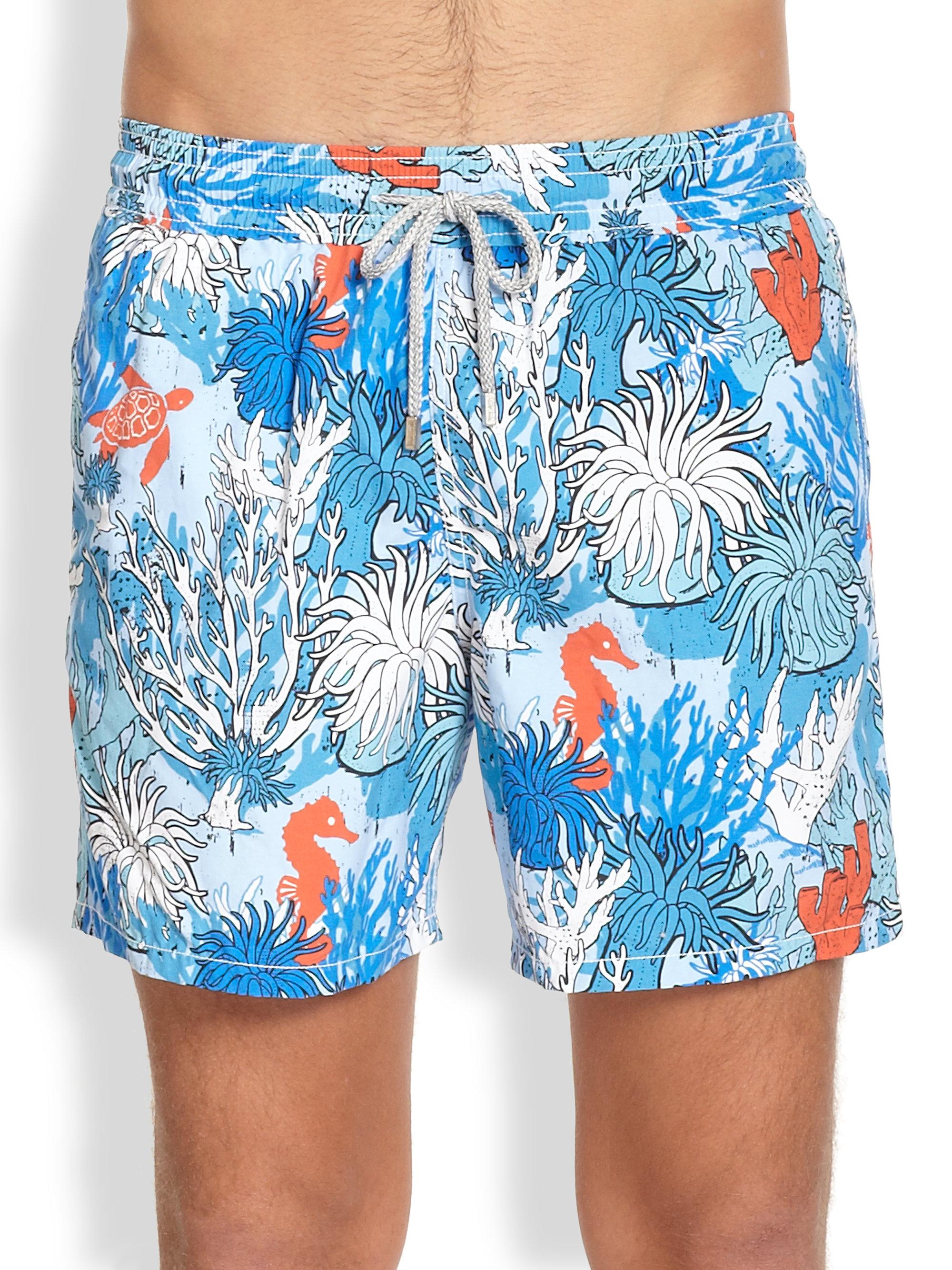 f7ad86f17e Vilebrequin Moorea Coral Reef Swim Trunks in Blue for Men - Lyst