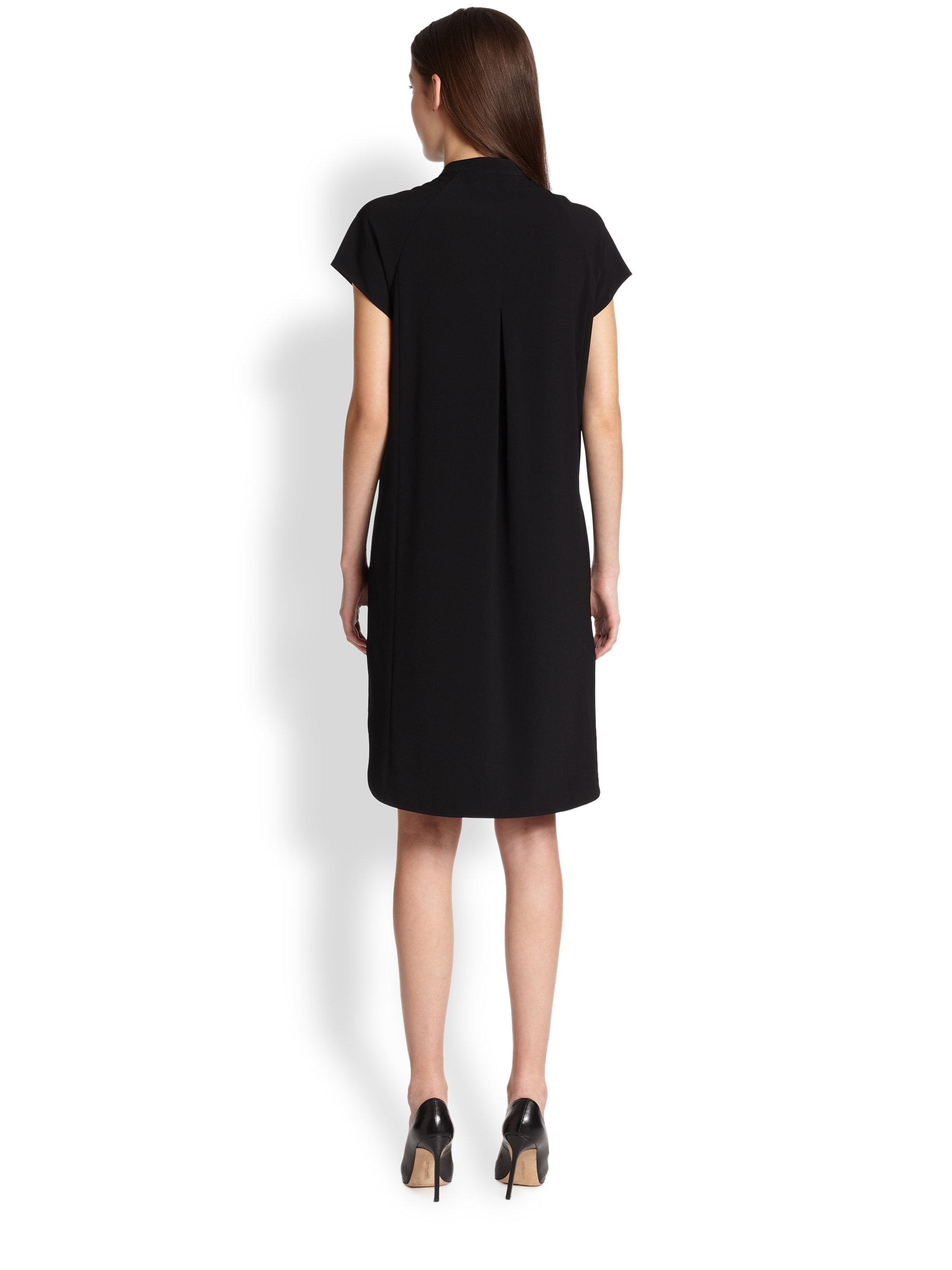 Vince half placket dress black