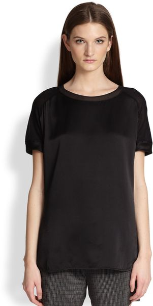 Vince Silk Panel Short Sleeve Tshirt - Lyst