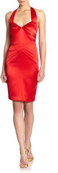 Z Spoke by Zac Posen Stretch Silk Satin Panel Halter Dress - Lyst