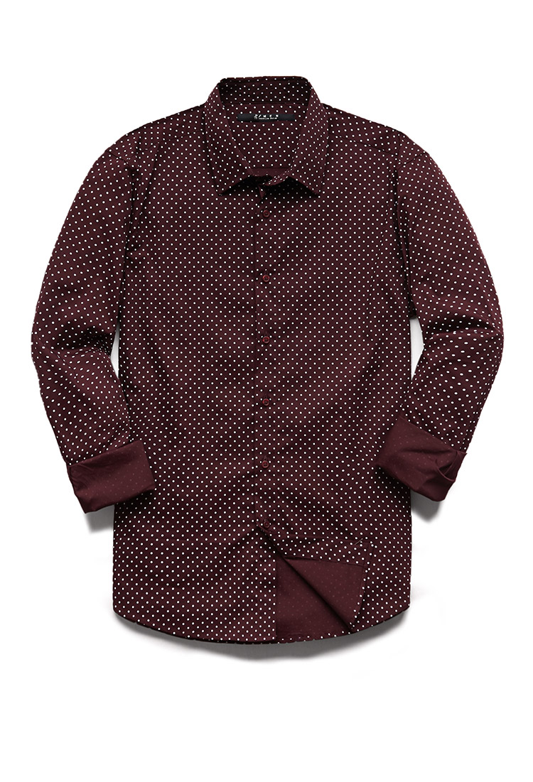 forever 21 polka dot slim fit shirt in purple for men lyst