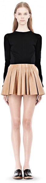 Alexander Wang Pleated Leather Skirt - Lyst