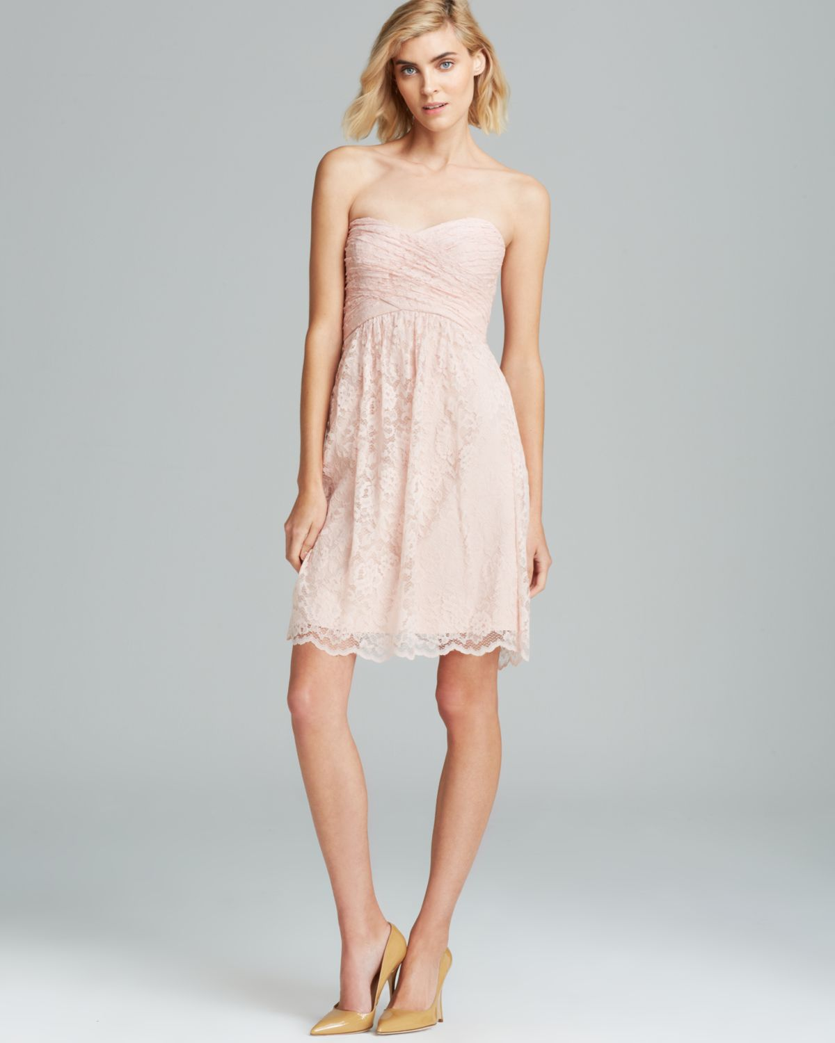 Amsale Strapless Lace Dress In Pink Lyst