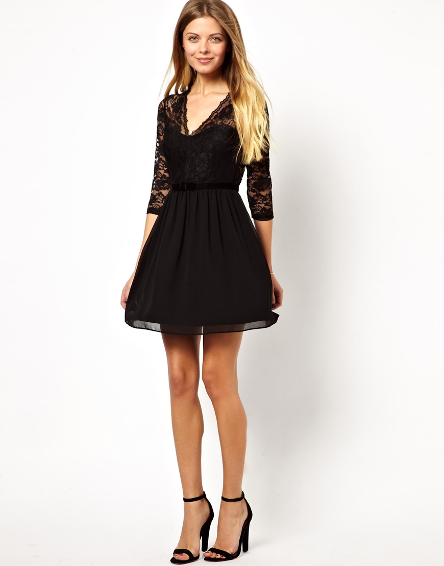 asos 34 sleeve scallop lace skater dress in black lyst