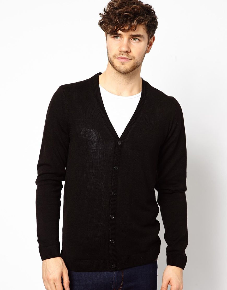 Asos Basic Cardigan in Black for Men | Lyst