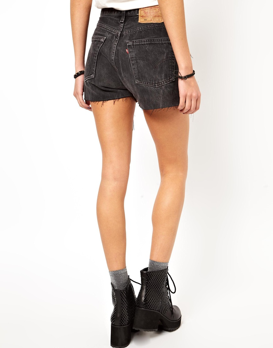 b3d32bdb ASOS Reclaimed Vintage Levis 501 Shorts with Tapestry Print in Black - Lyst