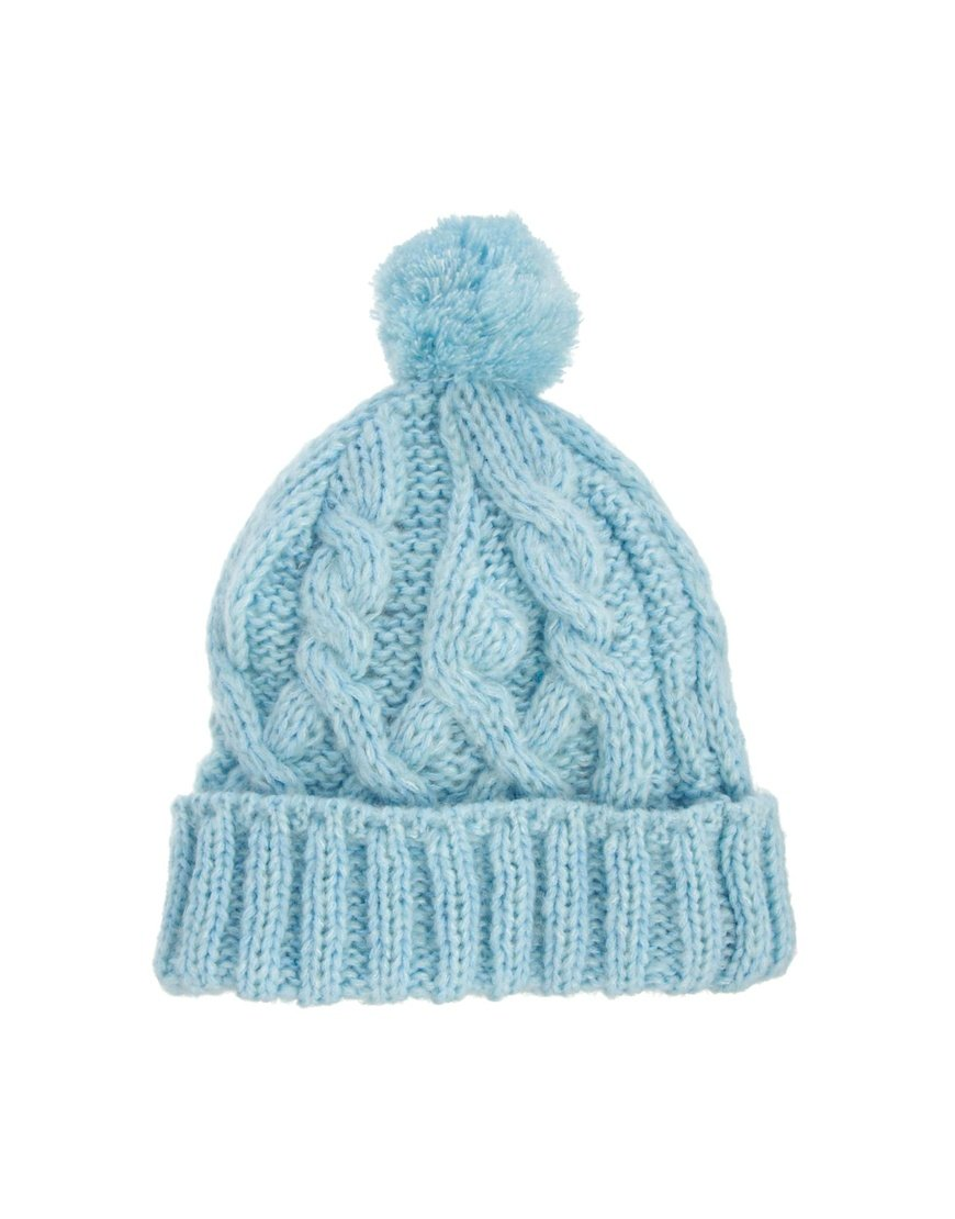 Lyst - ASOS Pastel Bobble Beanie Hat in Blue 05506cd3038