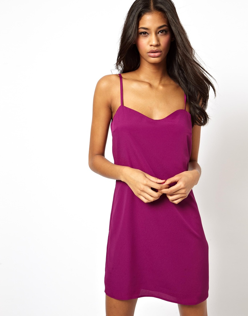 Lyst Asos Cami Slip Dress In Purple