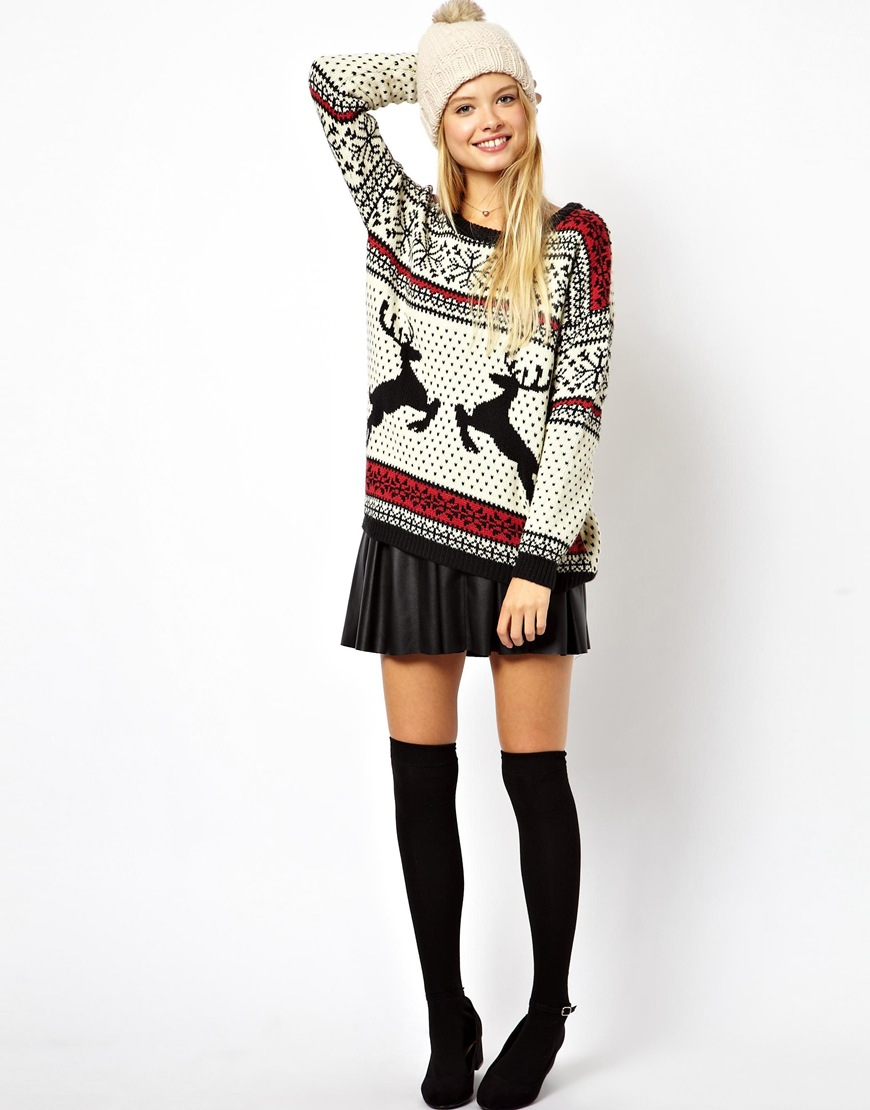Asos Christmas Jumper in Reindeer Fairisle | Lyst