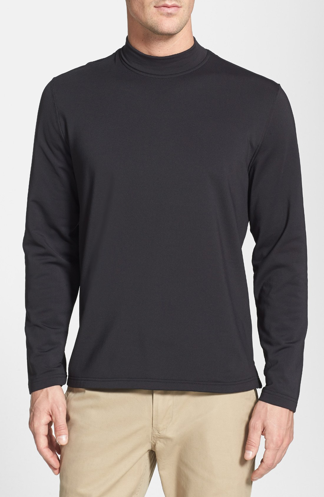 bobby jones mock neck long sleeve shirt in black for men