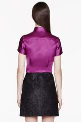 Burberry Prorsum Fuchsia Silk Tailored Blouse - Lyst