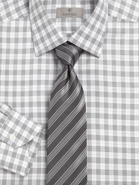 canali glen plaid dress shirt in gray for men grey lyst