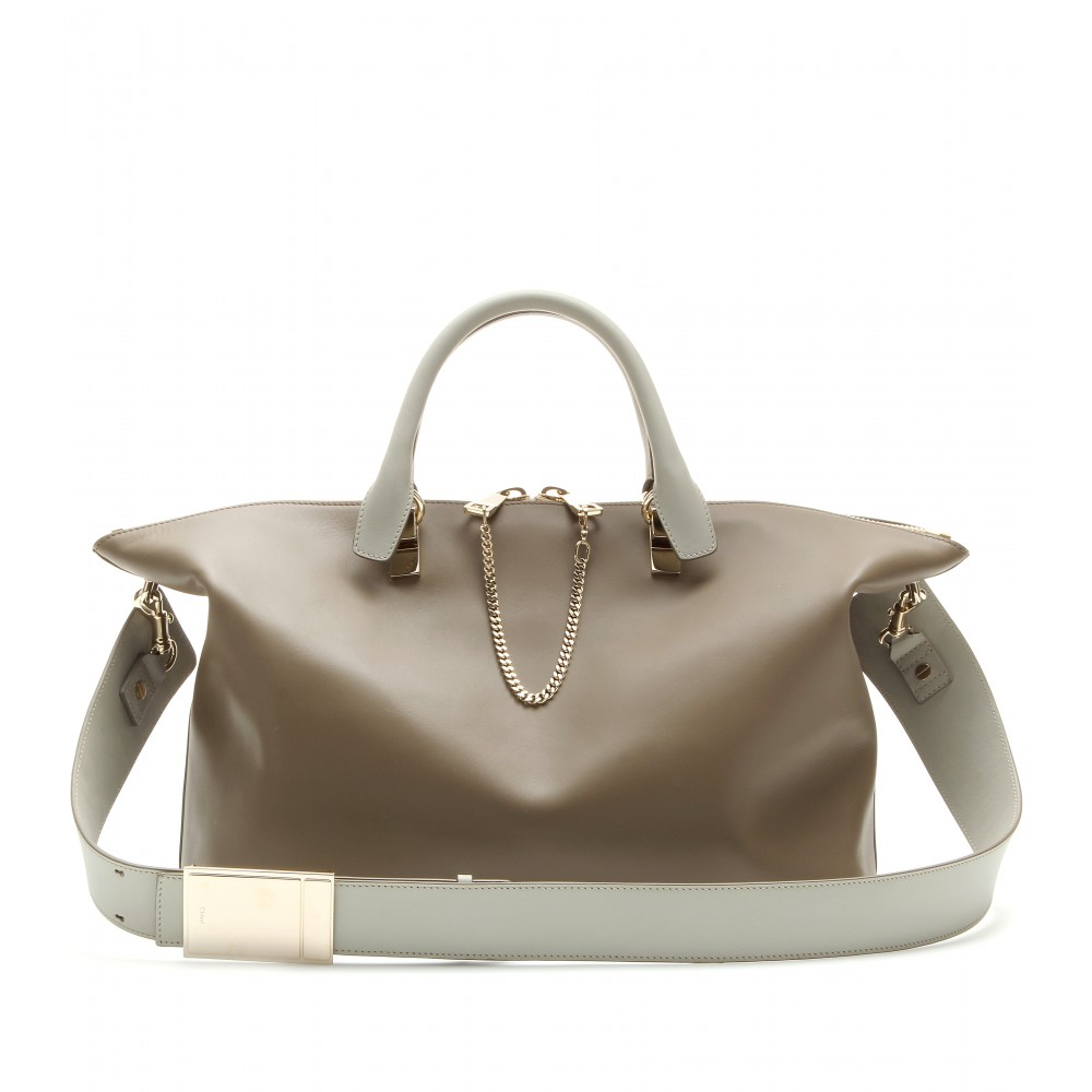 Chlo¨¦ Baylee Leather Tote in Gray (pearl grey made in italy) | Lyst