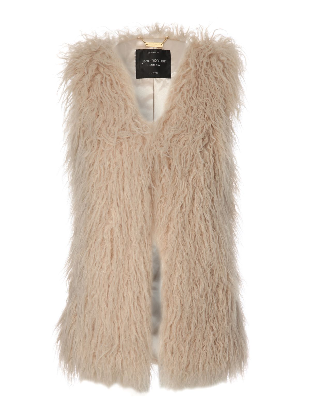 Jane Norman Longline Faux Fur Gilet In Natural Lyst