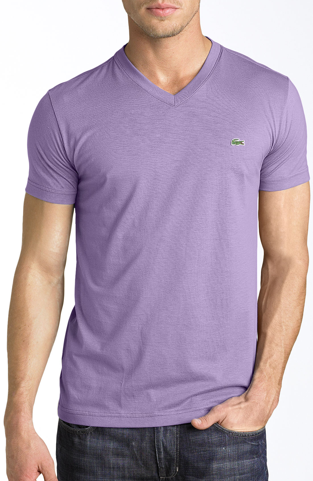 lyst lacoste v neck tshirt in purple for men. Black Bedroom Furniture Sets. Home Design Ideas