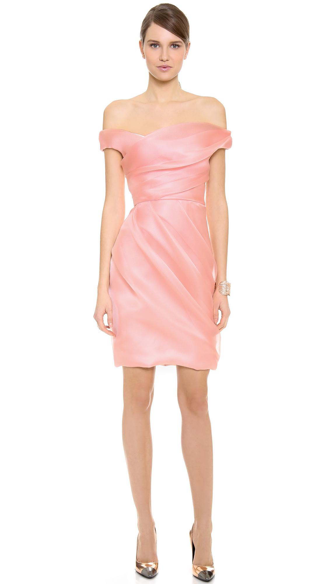 b9f2e806df47 Lyst - Lela Rose Off Shoulder Draped Dress in Pink