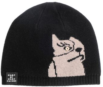 Marc By Marc Jacobs Olive The Dog Knit Beanie Hat - Lyst