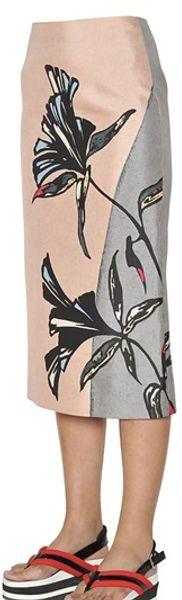 Marni Floral Printed Cotton Blend Skirt - Lyst