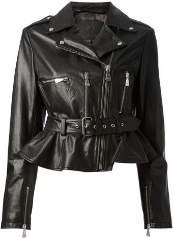 McQ by Alexander McQueen Peplum Leather Jacket - Lyst