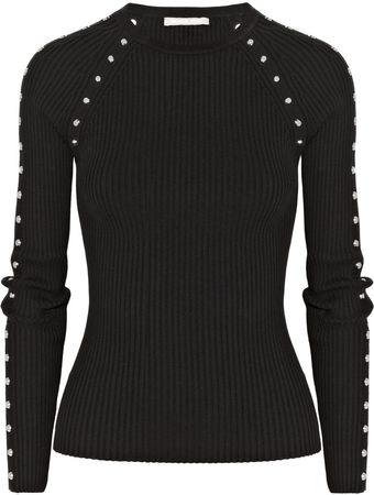 Michael Kors Studded Ribbed Stretch Cotton Blend Sweater - Lyst