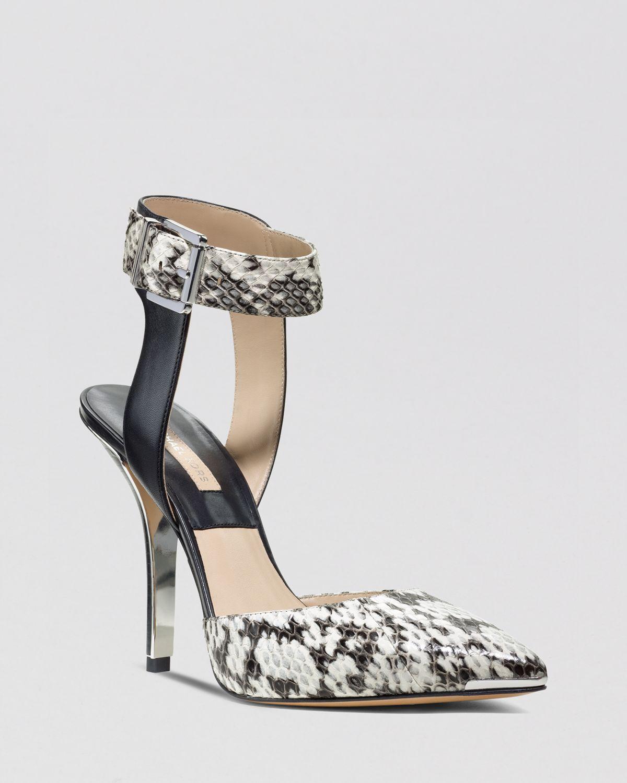 michael kors pointed toe pumps alanna ankle strap high heel in animal natural snake lyst. Black Bedroom Furniture Sets. Home Design Ideas