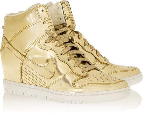 nike dunk sky hi metallic leather wedge sneakers in gold