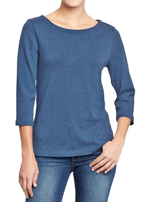 Old Navy Boat Neck Jersey Tops In Blue Navy Heather Lyst