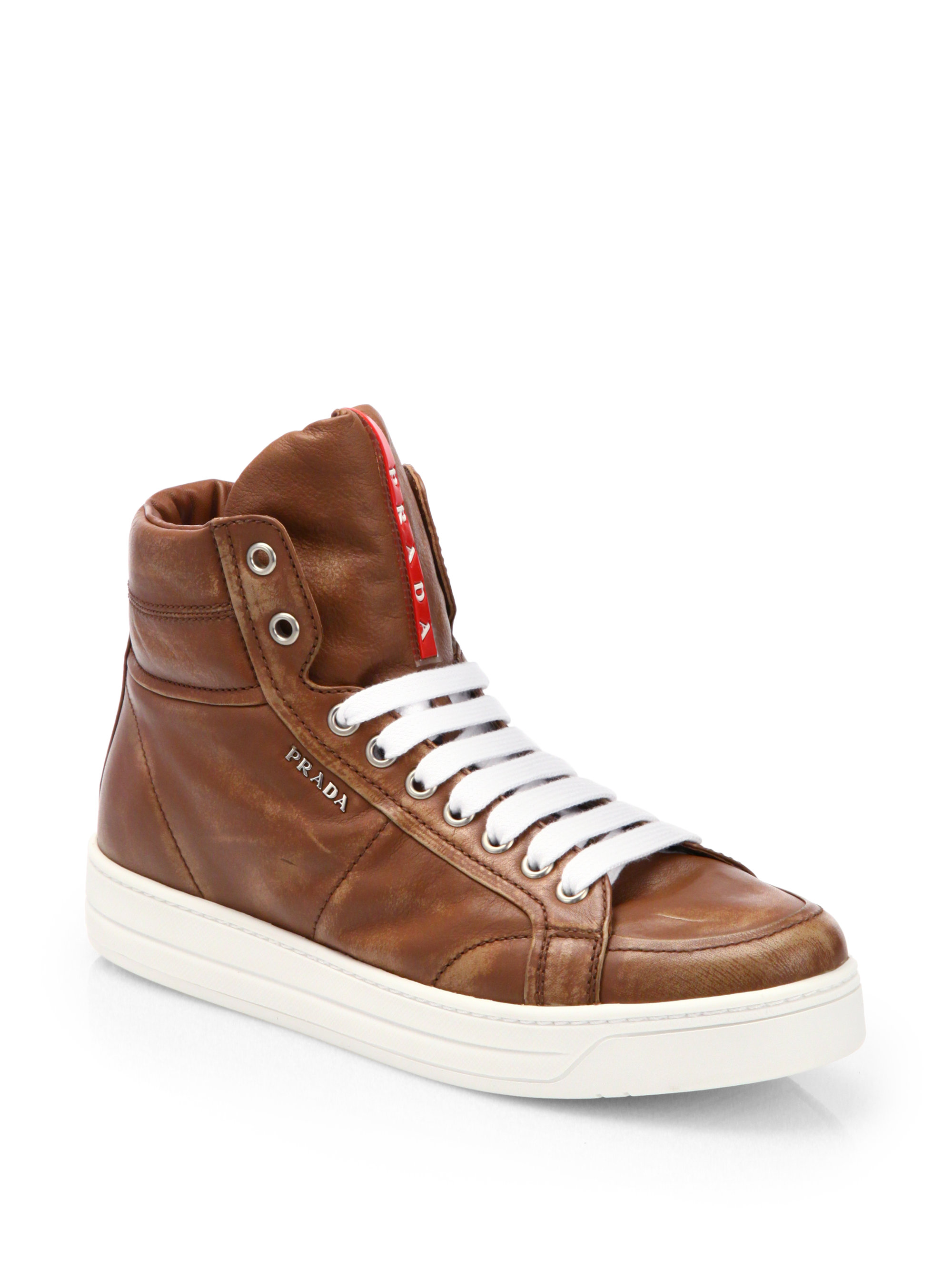 Prada Leather Laceup High Top Sneakers in Brown | Lyst