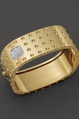 Roberto Coin 18k Yellow Gold Pois Moi Four Row Diamond Cuff - Lyst