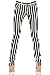 Saint Laurent Striped Stretch Cotton Denim Jeans - Lyst