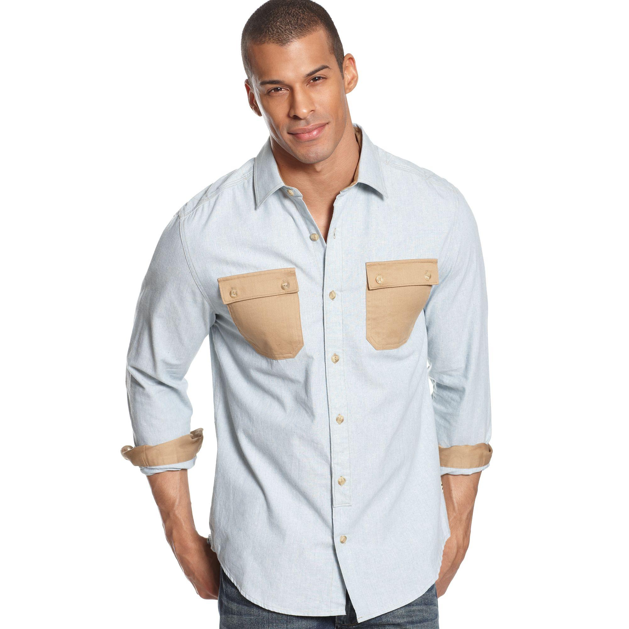 Lyst sean john long sleeve colorblocked shirt in blue for Sean john t shirts for mens