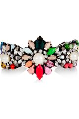 Shourouk Rainbow Pearl Silverplated Swarovski Crystal and Faux Pearl Cuff - Lyst