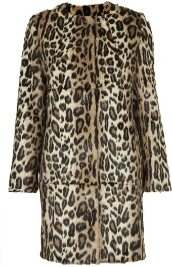 Topshop Faux Fur Animal Print Coat - Lyst