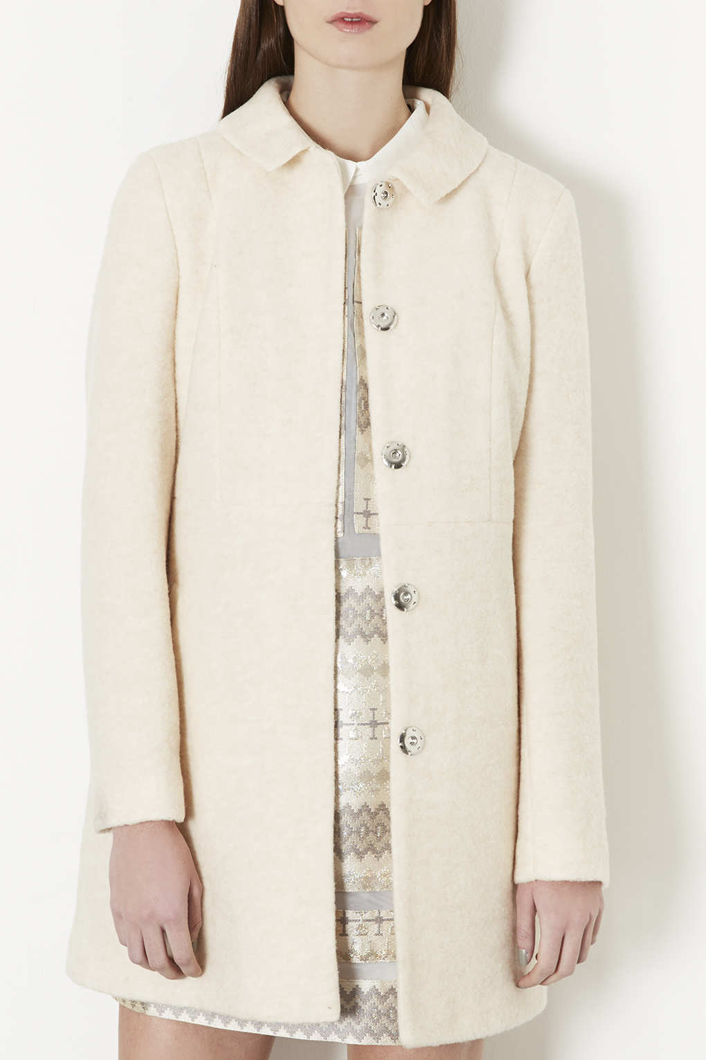 Lyst Topshop Boiled Wool Skirted Coat In Natural