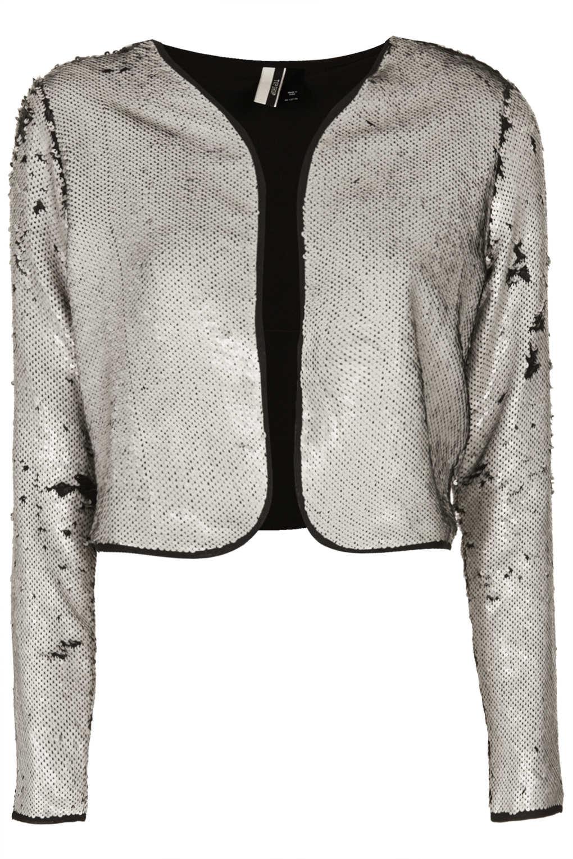 db36273eaafe80 Lyst - TOPSHOP Cropped Sequin Bolero Jacket in Metallic