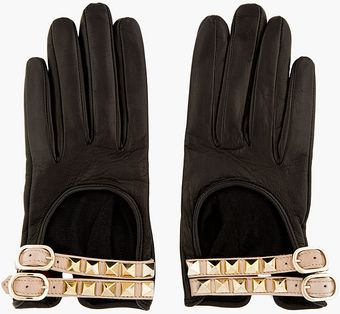 Valentino Black Leather Rockstud Driving Gloves - Lyst
