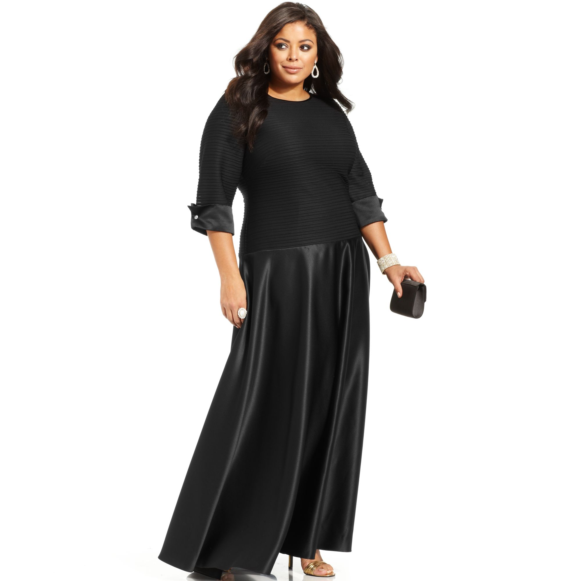 1292fe0f2ee6 Xscape Plus Size Three Quarter Sleeve Shutter Pleat Gown in Black - Lyst