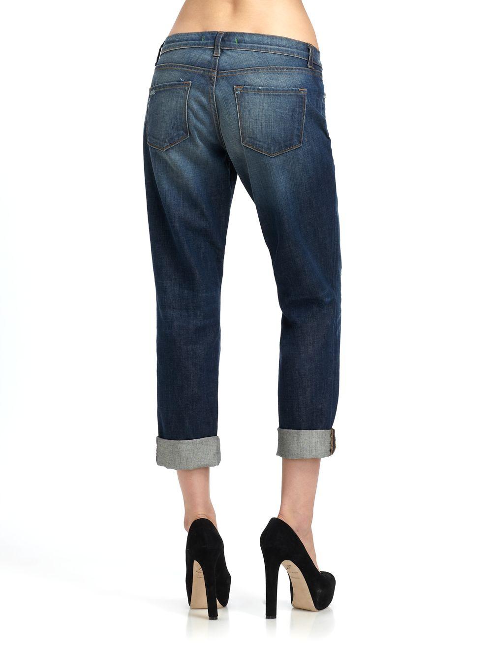 J Brand Aidan Cropped Boyfriend Jeans In Blue Lyst