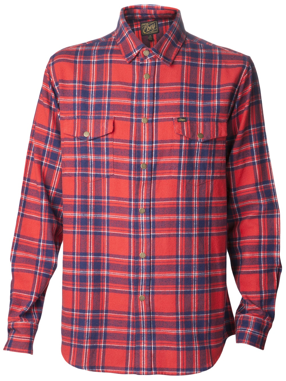 Obey Drifter Plaid Flannel Shirt In Blue For Men Red Lyst