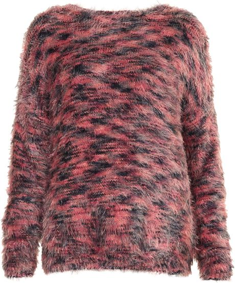 Topshop Knitted Super Fluffy Jumper in Multicolor (MULTI) Lyst