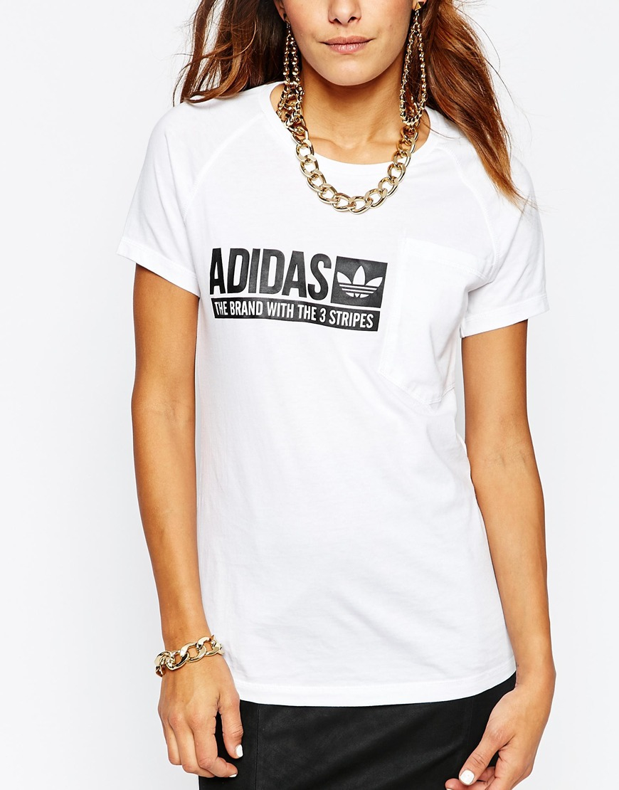 Adidas Originals Originals Fitted T-shirt With Box Logo in White - Lyst 7642cb0073