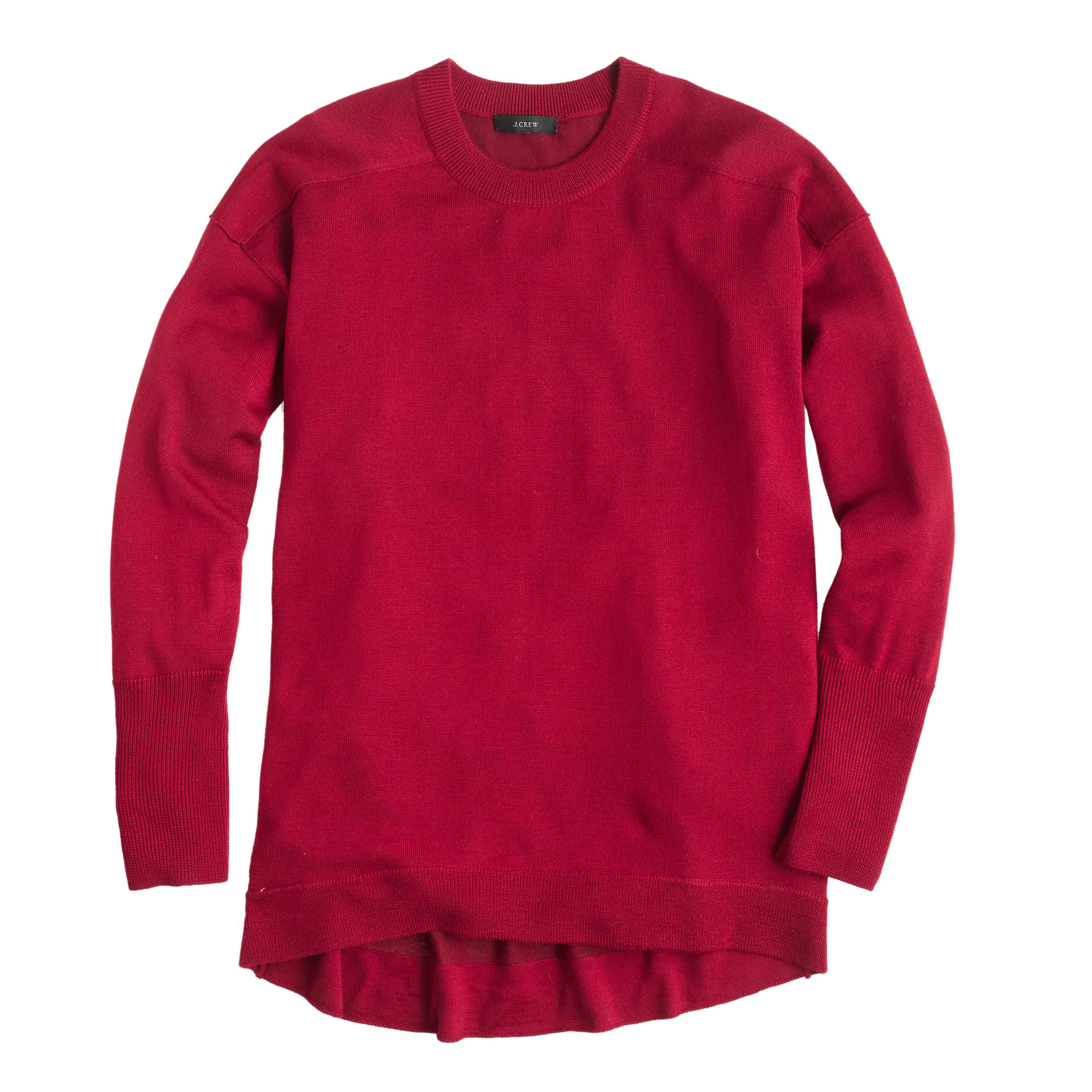 J.crew Merino-cotton Tunic Sweater in Red | Lyst