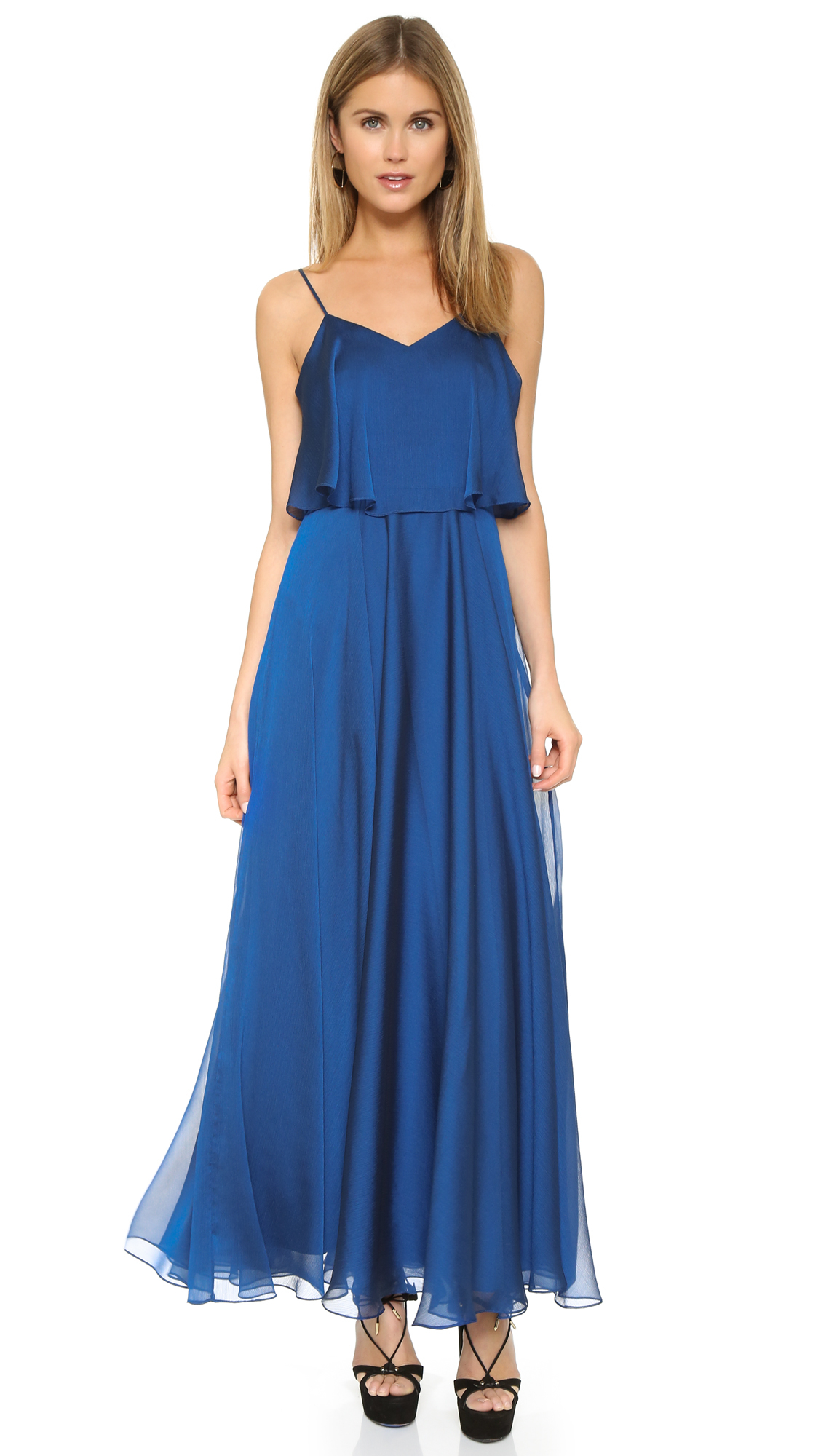 Halston iridescent chiffon gown in blue lyst for Halston heritage shirt dress