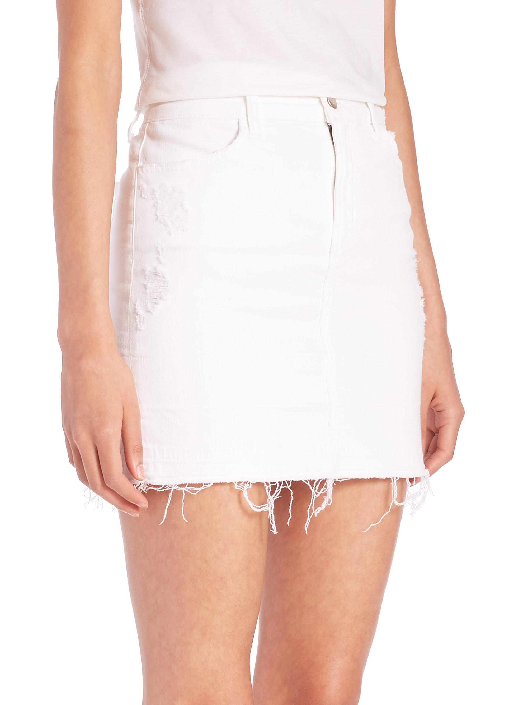 j brand leila released hem denim pencil skirt in white lyst