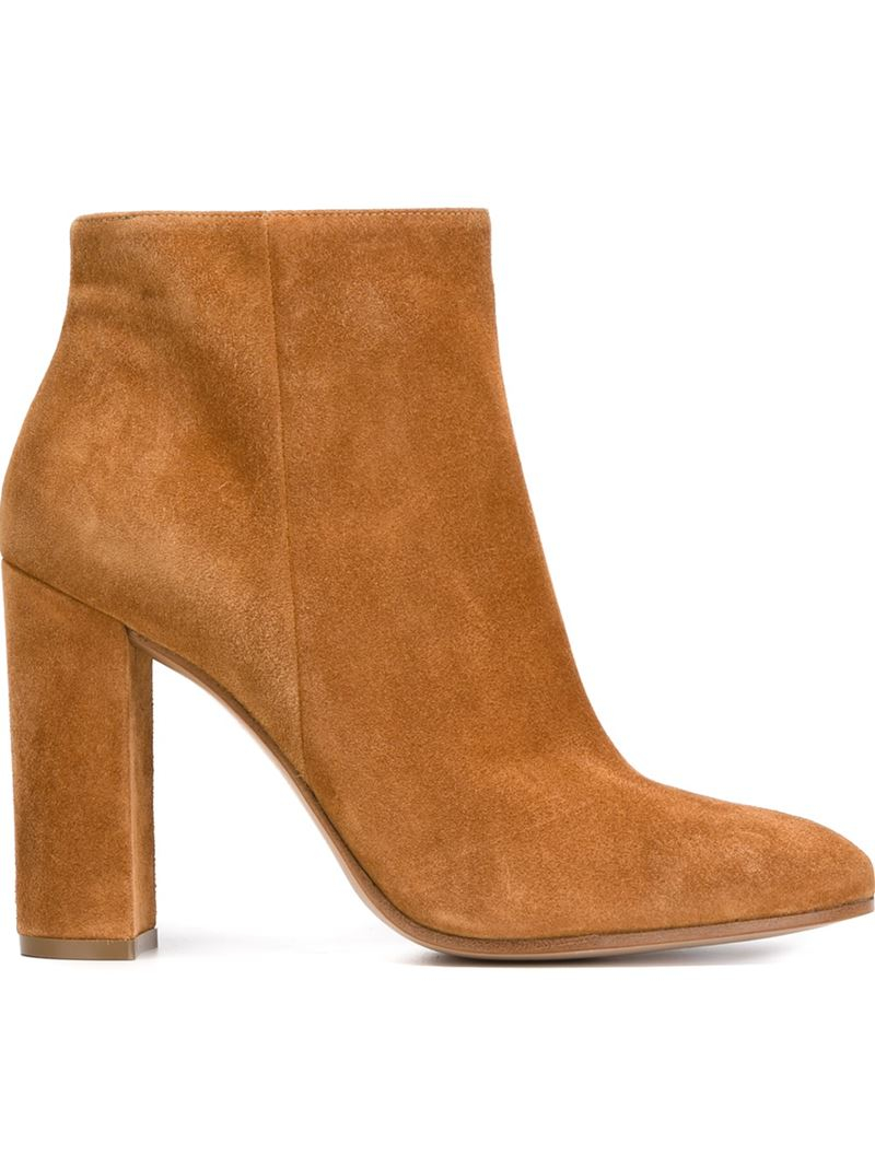 Gianvito Rossi Suede Chunky Heel Ankle Boots in Brown - Lyst