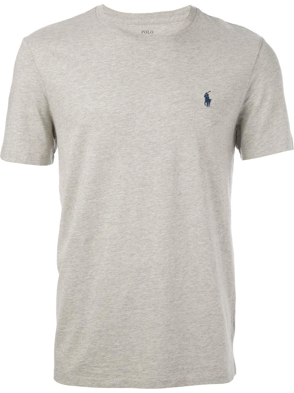 polo ralph lauren logo t shirt in gray for men grey lyst. Black Bedroom Furniture Sets. Home Design Ideas