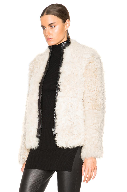 Helmut lang Lamb Shearling Jacket in White | Lyst