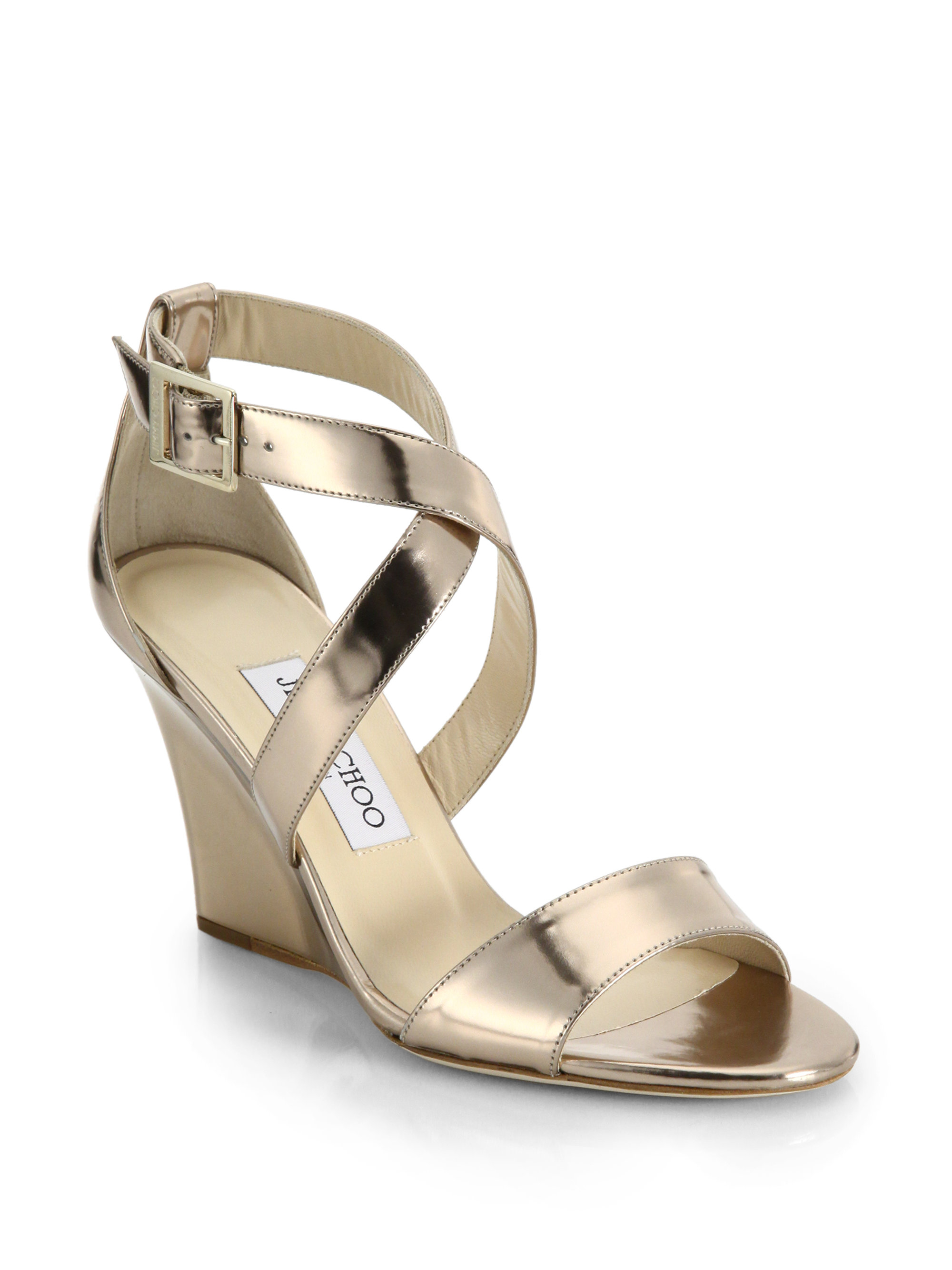15f865d66f0 Lyst - Jimmy Choo Fearne Metallic Leather Strappy Wedge Sandals in ...