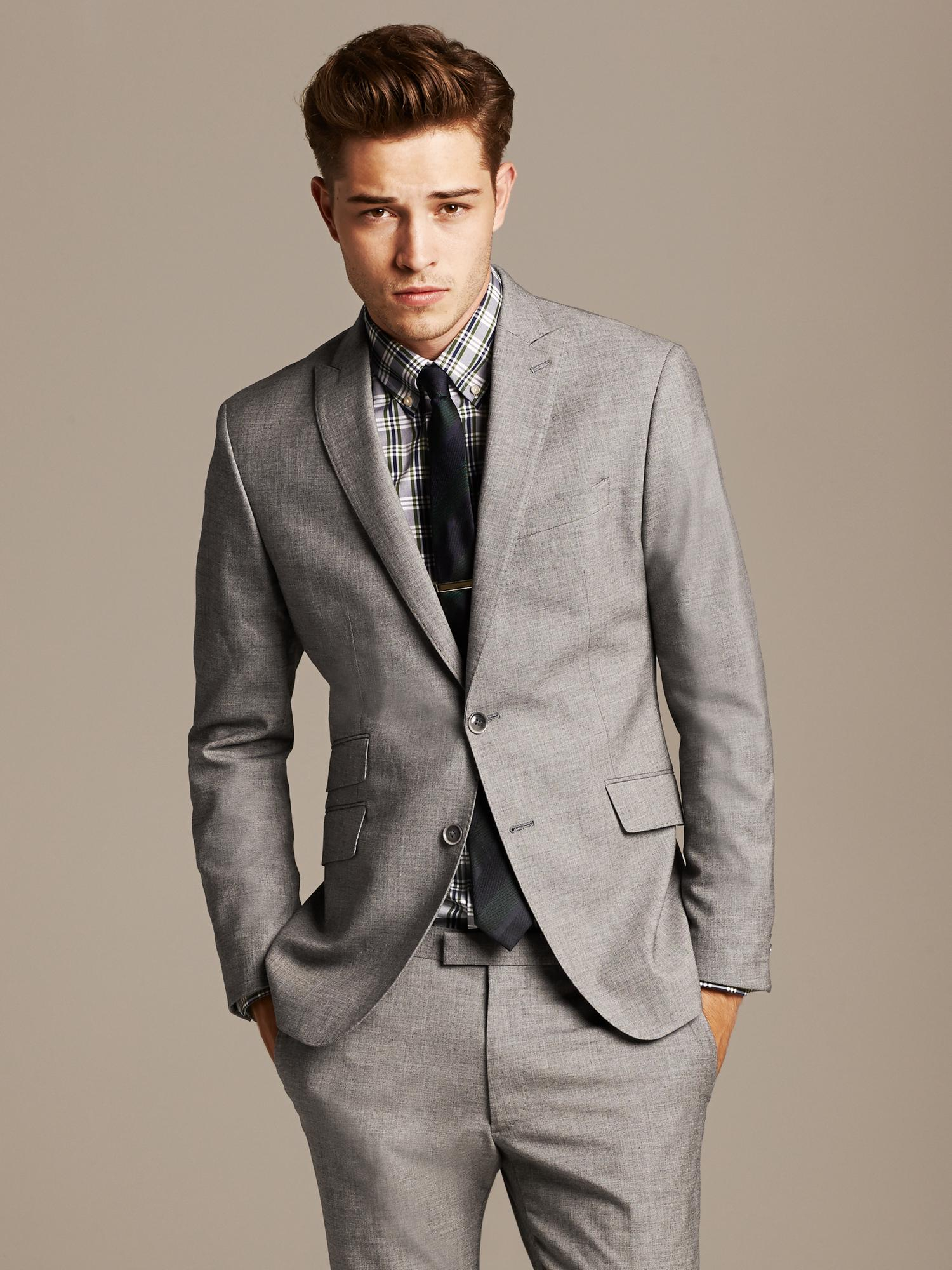 Lyst - Banana Republic Modern Slim-fit Grey Suit Jacket in ...