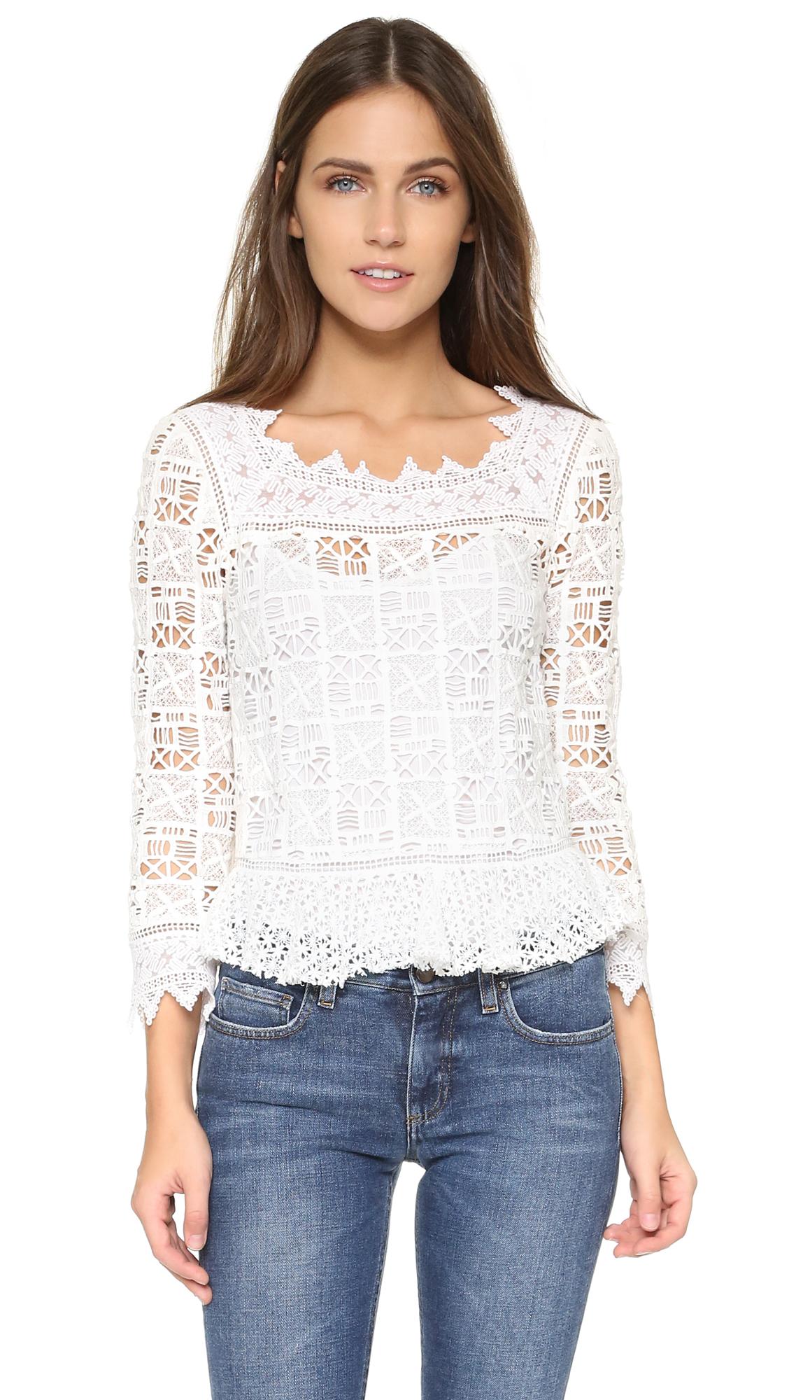 2a16d8ac892d5 Lyst - Rebecca Taylor Long Sleeve Crochet Lace Top